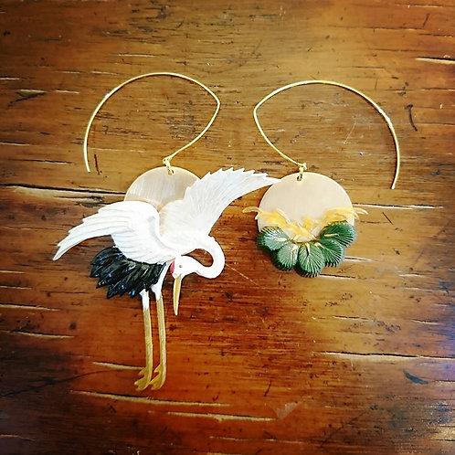 Kyoto crane and pine earrings