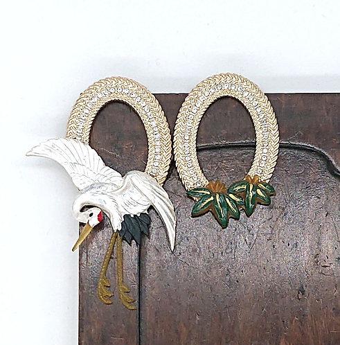 Crane and bamboo leaf earrings