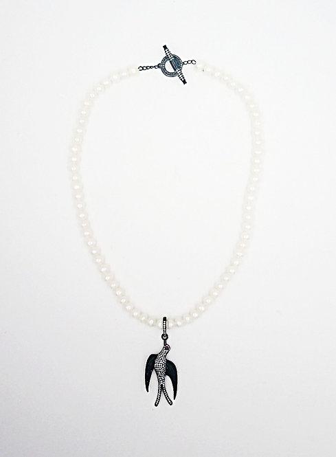 Pearl choker with rhinestone bird pendant