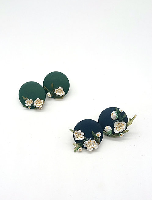 Cherry blossom on round wood earrings