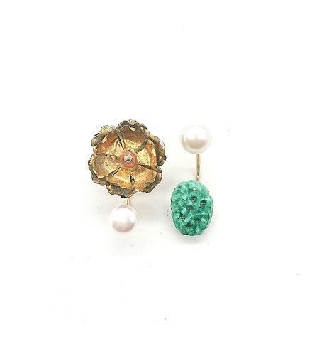 Vintage brass camellia flower earrings