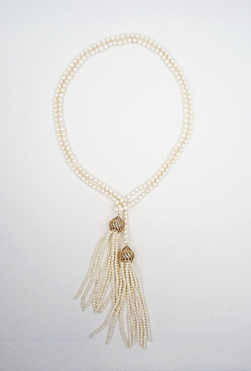 Long tassel pearl necklace