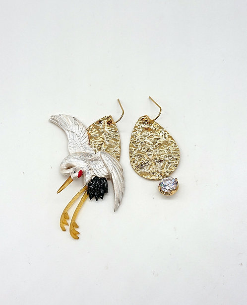 Crane earrings with sterling hook