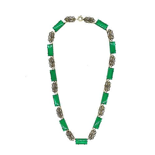 Art deco cut glass necklace