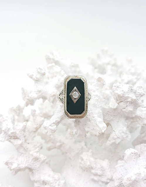 Victorian Onyx ring with Diamond
