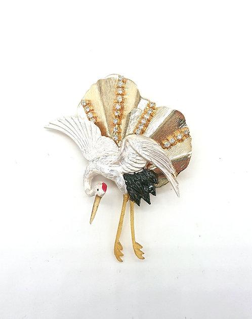 Handpainted crane brooch