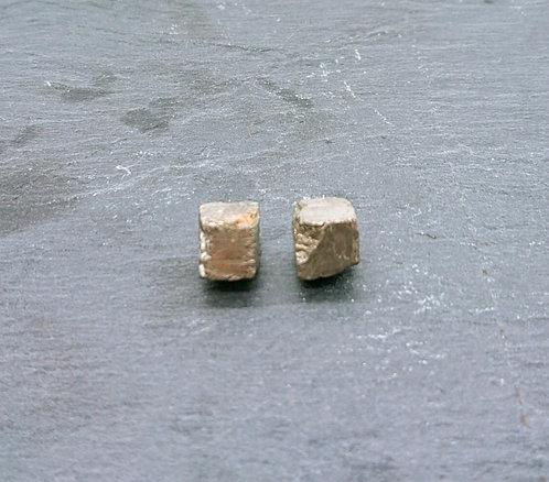 Golden cube stone earrings