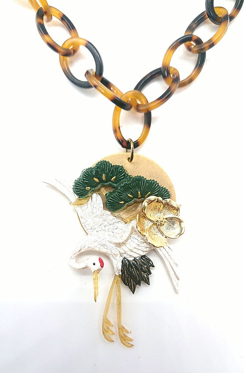 Handpainted crane necklace