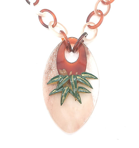 Handpainted bamboo pendant necklace
