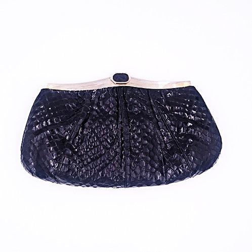 Black python leather clutch
