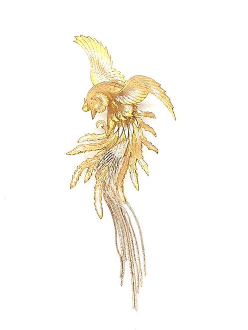 Golden phoenix brooch