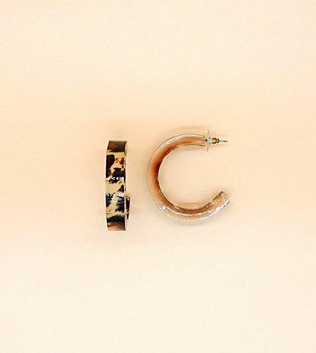 Leopard print loop earrings