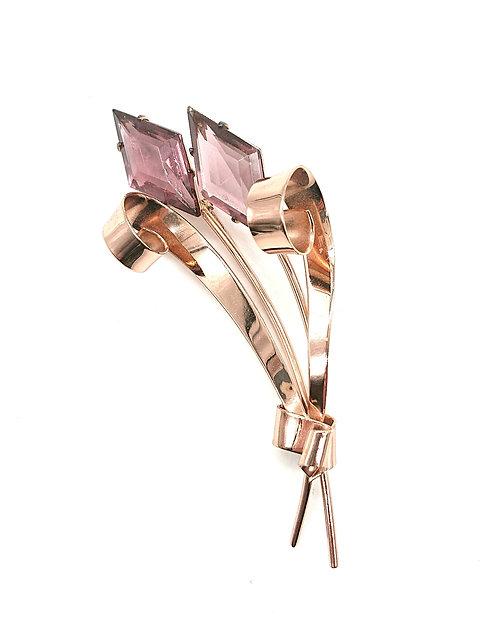 Coro rose gold brooch