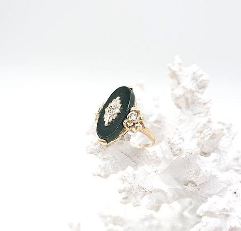 Onxy Ring with Diamond
