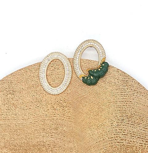 Pine leaf with rhinestone earrings