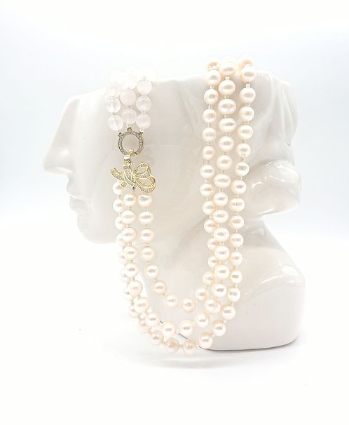 Pink pearls and rose quartz necklace