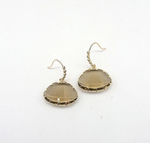 Huge cut glass hook earrings