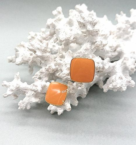 Square orange earrings