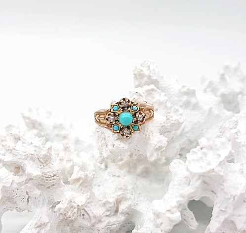 9KGold Ring with Turqouise and sea pearl