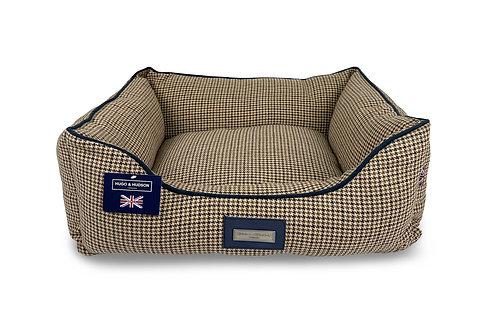 Hugo & Hudson Dark Brown Houndstooth Dog Bed