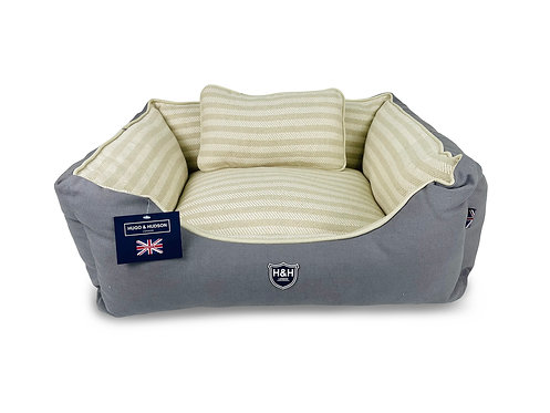Hugo & Hudson Grey & White Stripes Dog Bed