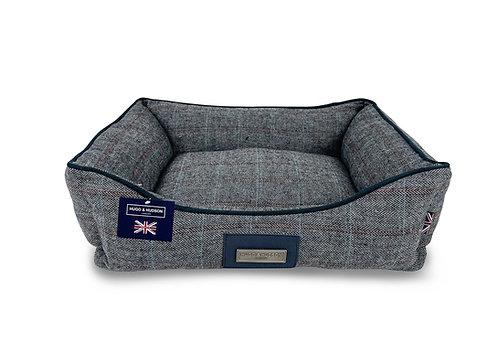 Hugo & Hudson Dark Grey Checked Tweed  Dog Bed
