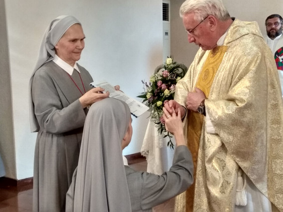 Receiving the ring on her Final Vows