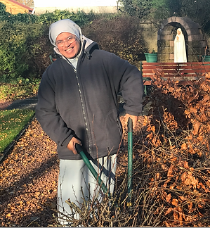 Sr. Editta in the garden in Bellshill