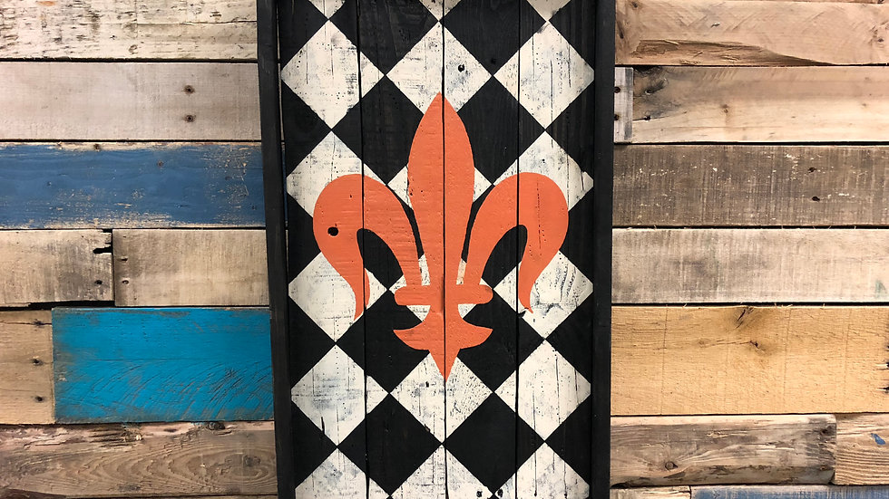 Checker Board Fleur de lis