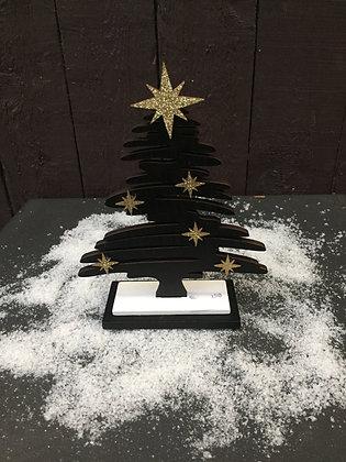 Zwarte houten kerstboom H 18 cm