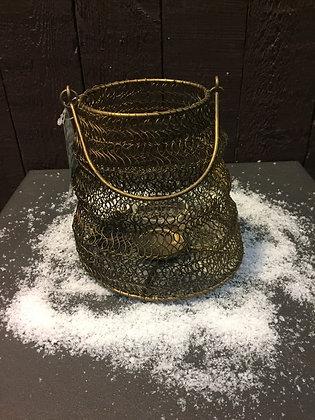 Gouden metalen kaarsenhouder H16 cm