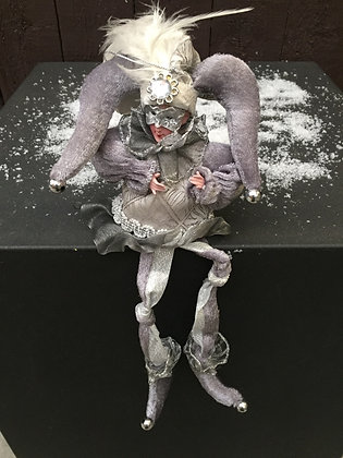 Kerst harlekijn met hangende beentjes H 30 cm
