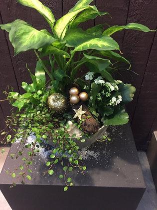 Plantenschaal kerst goud