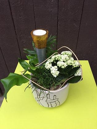 Plantenschaal met theelicht