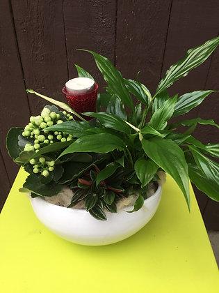 Ovaal plantenschaal met theelicht
