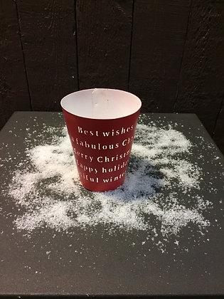 Theelicht met uitgesneden kerstwens H 11,50 cm