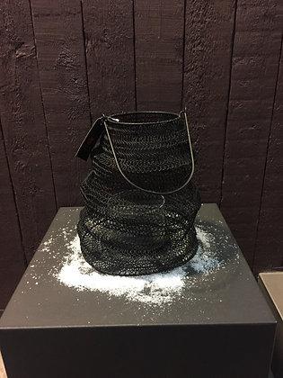 Zwart metalen kaarsenhouder H 27 cm