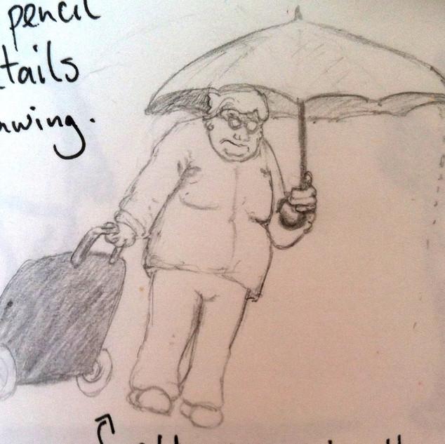 Old Woman in Rain