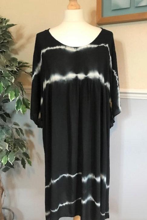 Black Boho Tie Dye Smock Dress