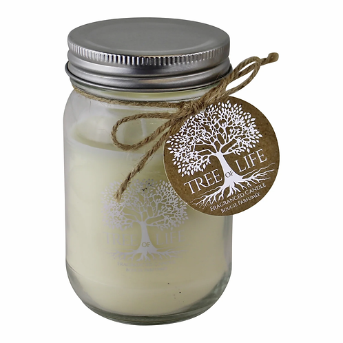 Tree Of Life Sandalwood Fragranced Candle In Glass Jar With Lid