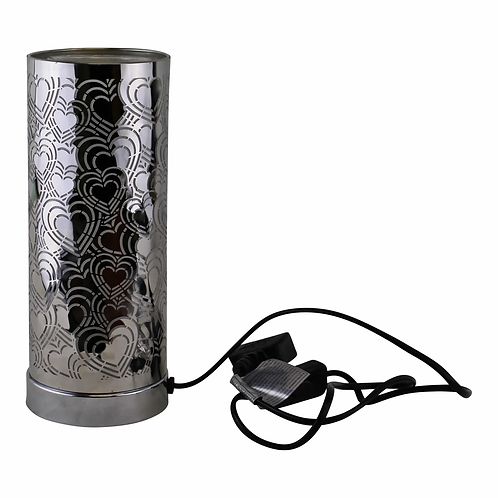 Silver Heart Design Colour Changing LED Lamp & Aroma Diffuser in Silver