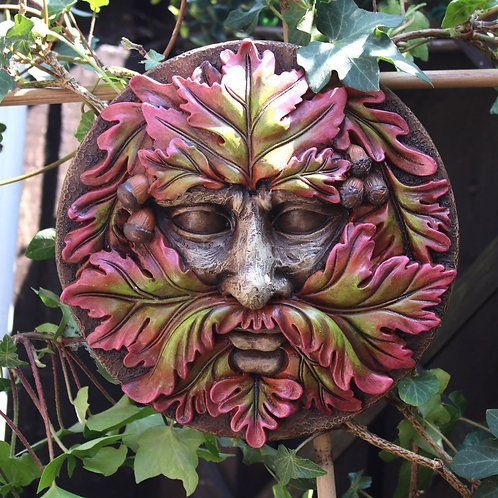 Green Man Round Face Plaque
