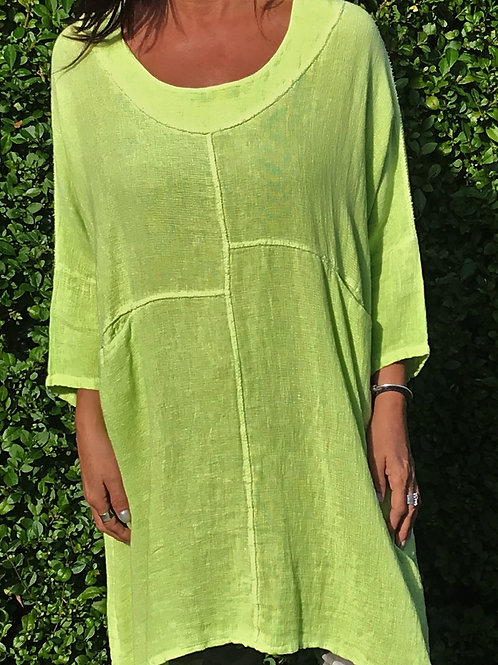 Lime Lagenlook Bleach Wash Tunic