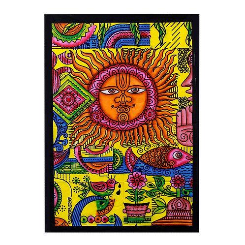 Handbrushed Cotton Wall Art - Sun