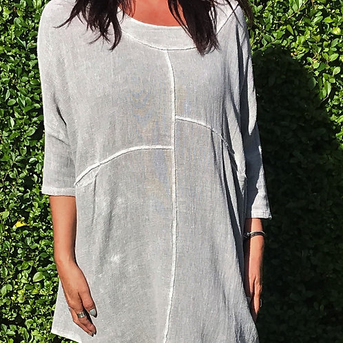 Grey Lagenlook Bleach Wash Tunic
