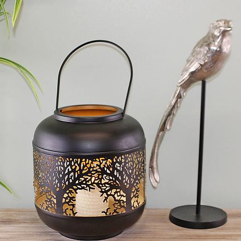 Tree Of Life Cutout Design Black Candle Lantern
