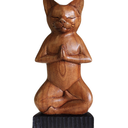 Hand Carved Yoga Lotus Cat