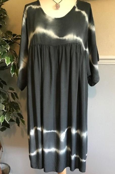 Charcoal Grey Boho Tie Dye Smock Dress