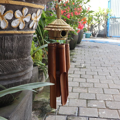 Large Round Seagrass Bird Box with Chimes 56x20cm