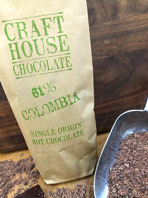 Colombian 61% Dark Ground Hot Chocolate.